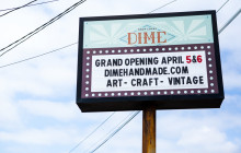 Branding for The DIME Store in Denton, Texas Outdoor Signage