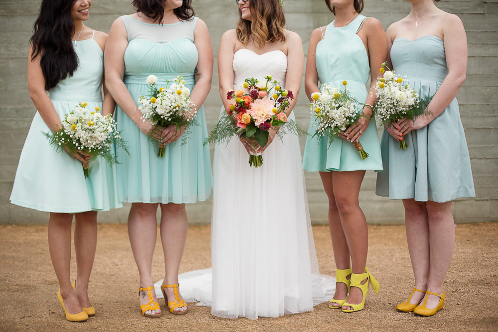 Mint Bridesmaid dresses with Mustard Shoes