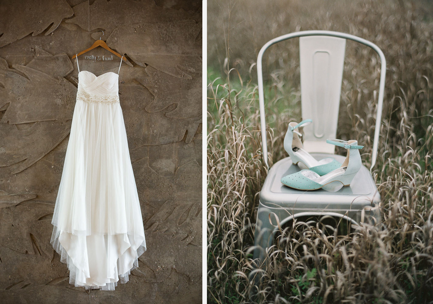 Swiss Dot Wedding Dress & Mint Shoes