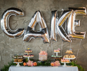 Cakewalk Bakeshop dessert bar with A Rose in Bloom Florals