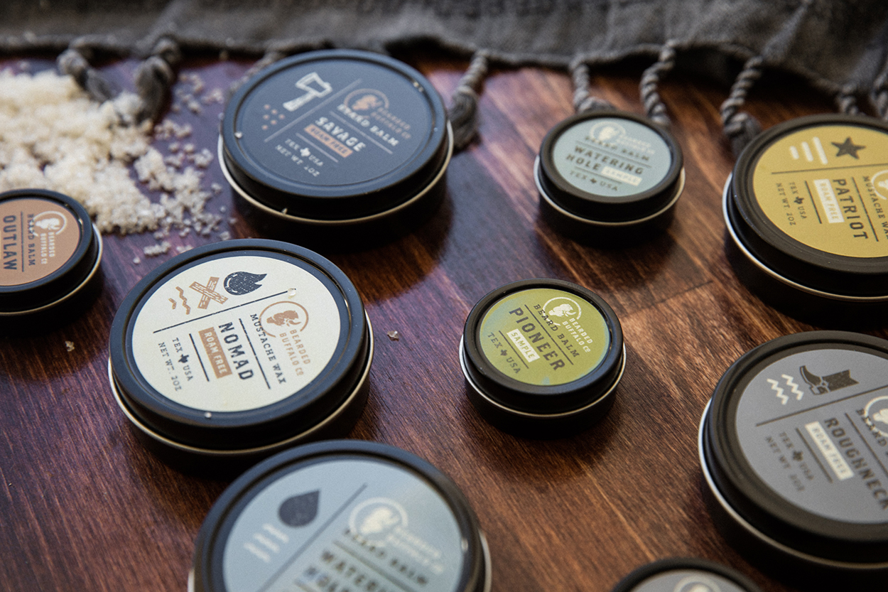 Mustache Wax Packaging Design Detail Shot